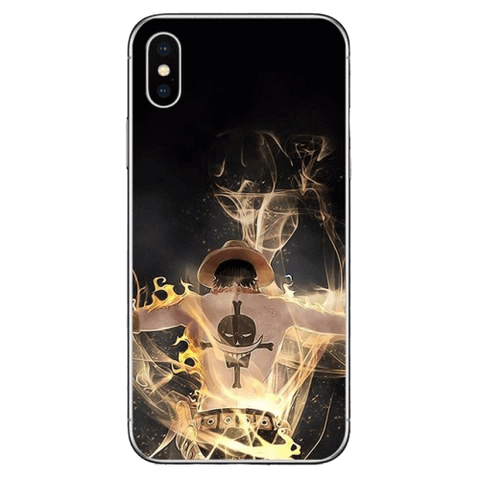 Coque One Piece iPhone Ace Poings Ardents