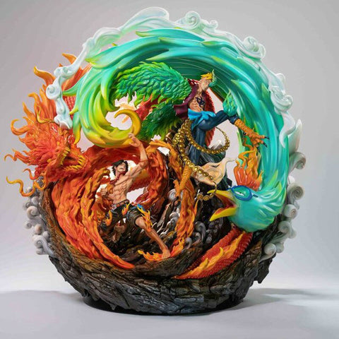 Figurine collector One Piece Portgas.D.Ace & Marco le Phoenix