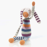 Organic Cotton Stripey Bunny Rattle
