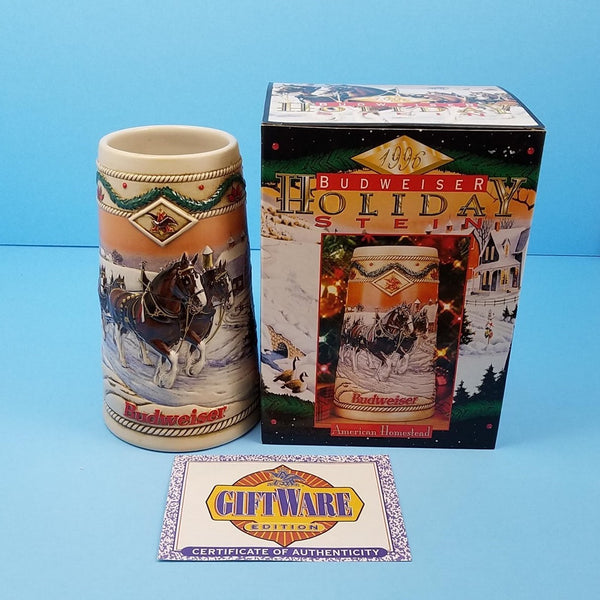 Ceramic 1996 Budweiser Stein Christmas Holiday Beer Mug American Homestead with COA