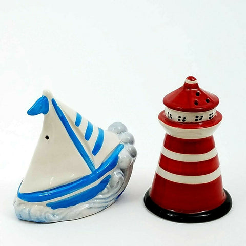 ceramic Sail Boat and Light House Salt and Pepper Shaker Set