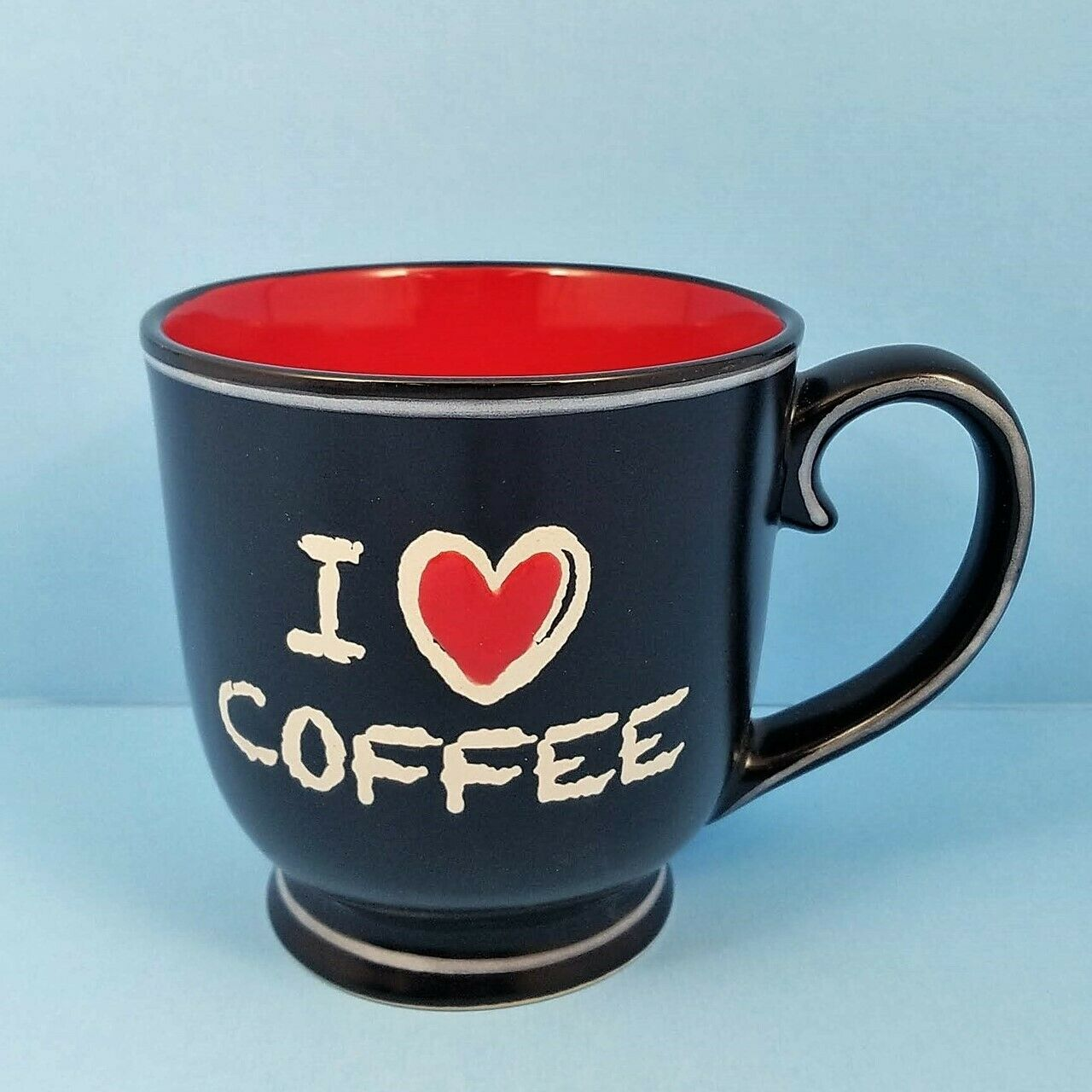 Chalkboard Mug Cup I Heart Coffee by Blue Sky Spectrum 17oz Black Red