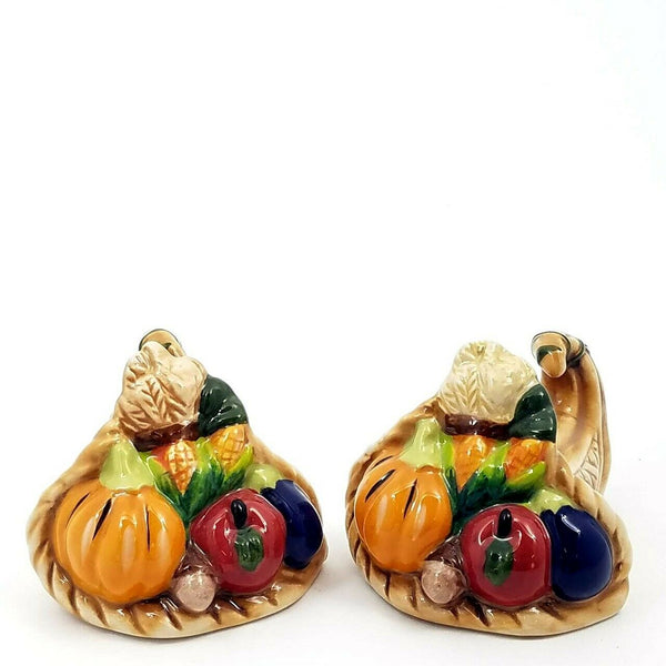 Ceramic Cornucopia Basket Salt Pepper Shaker Set
