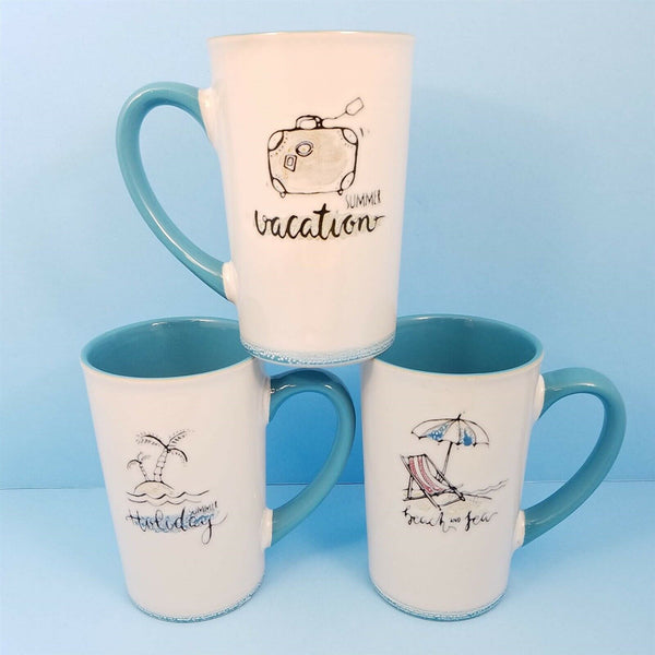 Coffee Mug Summer Time Fun Cup Pen Holder by Blue Sky Spectrum 18oz Your Choice