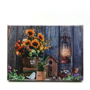 Sunflowers with Lantern LED Light Up Lighted Canvas Wall or Tabletop Picture Art