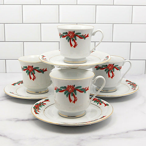 "Fairfield Fine China Poinsettia Ribbon Set of 4 Coffee Mug and Saucer 3"" 8cm"