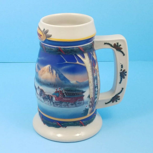 Ceramic 2000 Budweiser Stein Mug Winter Christmas Holiday in the Mountains CS416