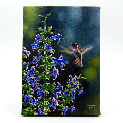 Hummingbird and Blue Flower LED Light Up Lighted Canvas Wall or Tabletop Picture