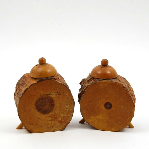 Vintage Set of Salt Pepper Shakers Wooden Clock