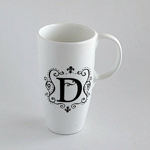 Monogrammed D Coffee Mug White Beverage Cup Kitchen Home Décor