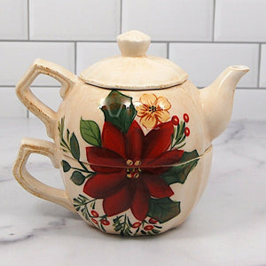 Teapot Tea Pot For One Set Poinsettia Holly Dining Teaware by Home
