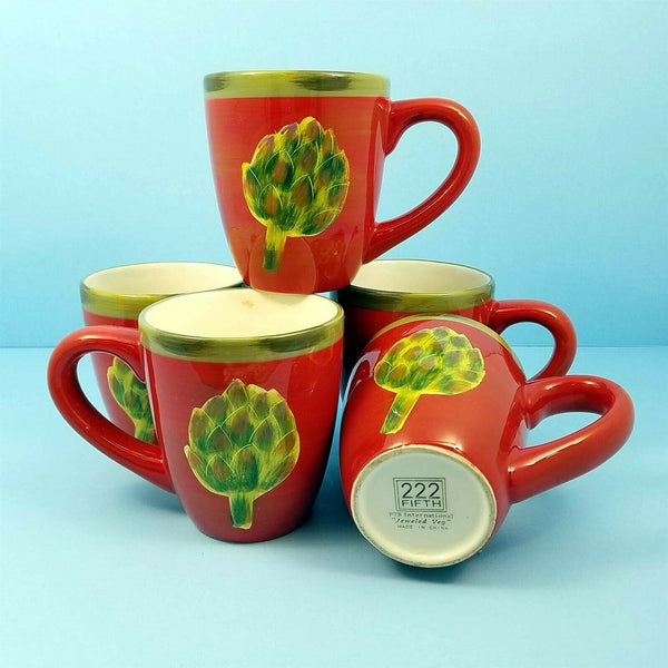 Artichoke Set of 5 Coffee Tea Mugs Cups Home Décor 16oz (473ml) Red and Green