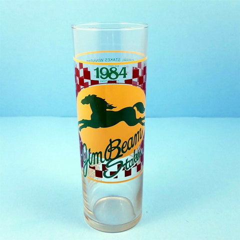 1984 Turfway Park Jim Beam Stakes Race Bar Glass Winner At The Threshold Pat Day