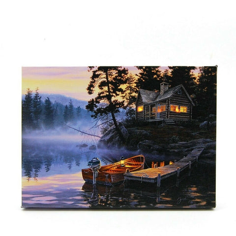 Cabin and Boat Scene LED Light Up Lighted Canvas Picture Wall or Tabletop Art