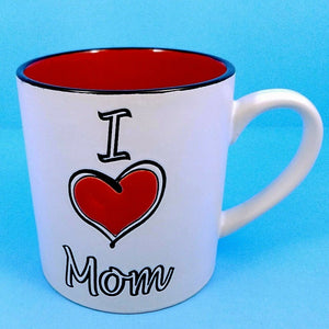 Coffee Mug I Love Mom Ceramic Beverage Cup 21oz Spectrum Pen Pencil Holder