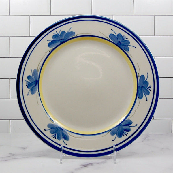 "Montgomery Ward Tuscany Set of 3 Dinner Plate Blue Flowers Yellow Rim 10.5"" 27cm"