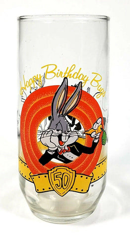 Bugs Bunny Glass 50th Anniversary Happy Birthday Drinking Clear Tumbler 16oz