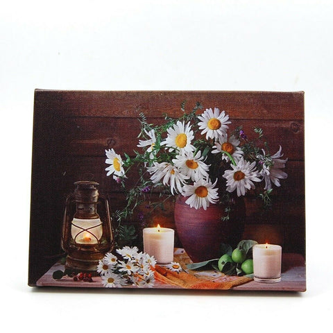 Daisies in Vase and Candles LED Light Up Lighted Canvas Wall or Tabletop Picture