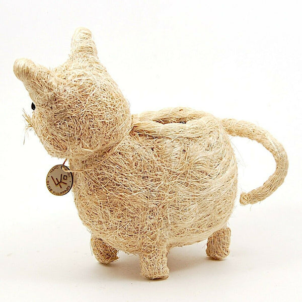 Cat Flower Pot Beige Coco Coir Animal Succulent Plant Holder