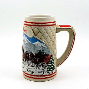 1985 Budweiser Beer Holiday Christmas Stein Mug Wagon Clydesdales Ceramarte