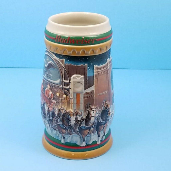 Ceramic 1997 Budweiser Holiday Mug Stein CS313 Home For The Holidays Ceramarte COA