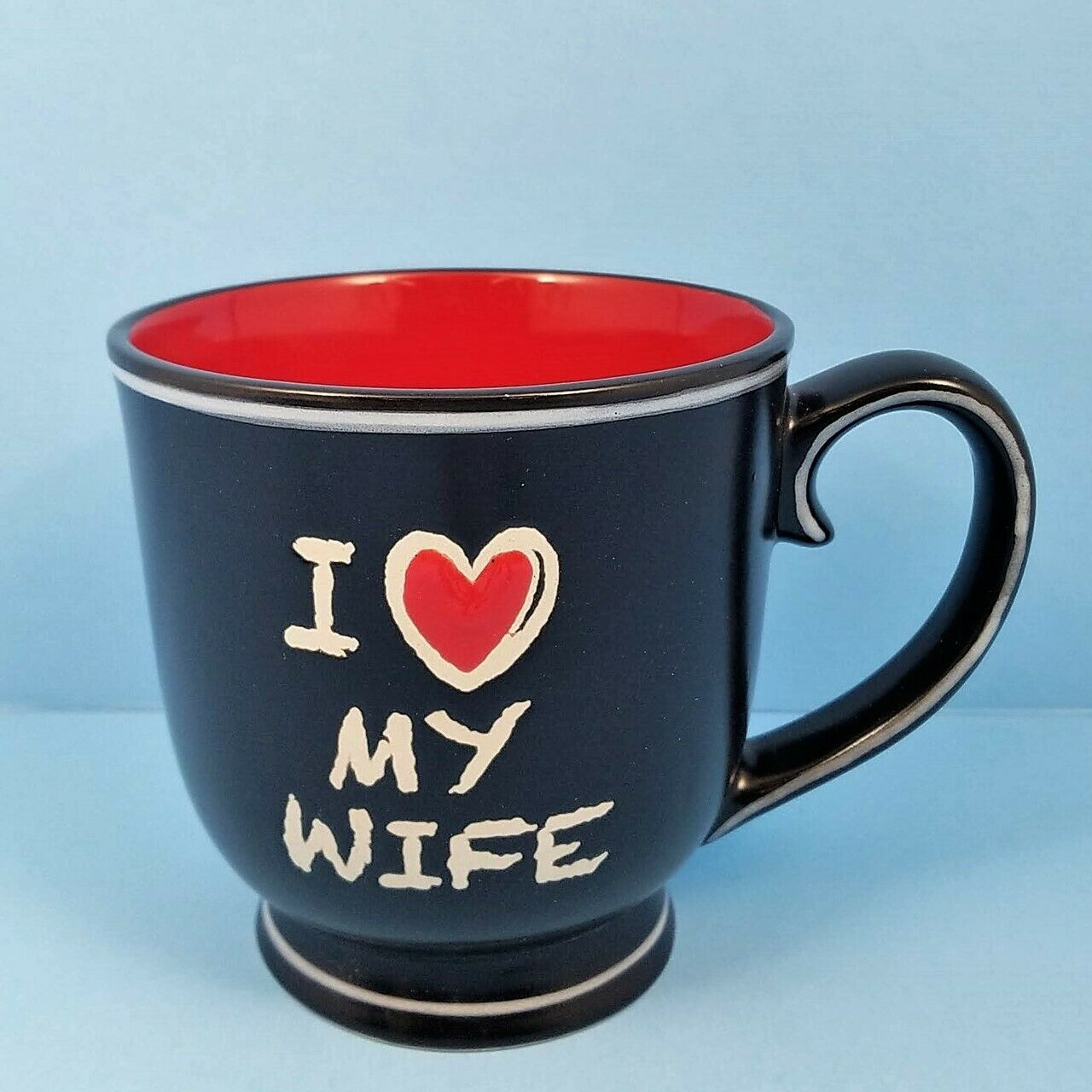 Chalkboard Coffee Mug Cup I Heart My Wife by Blue Sky Spectrum 17oz Black Red