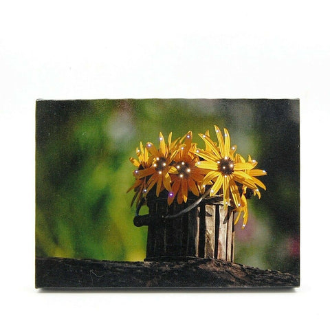 Bucket of Yellow Daisies LED Light Up Lighted Canvas Wall or Tabletop Picture