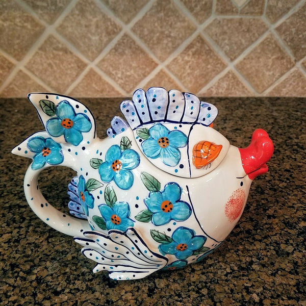 Flower Fish Teapot Ceramic Decorative Kitchen Decor New Blue Sky Diane Artware