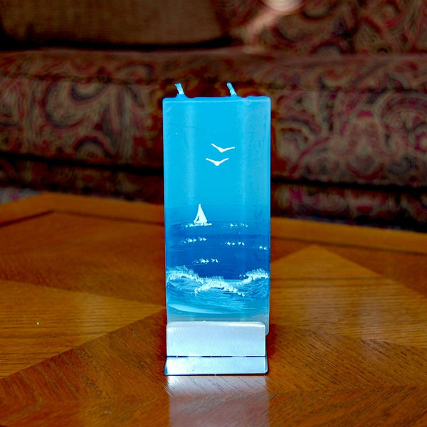 Ocean Sailing Flatyz Handmade Twin Wick Unscented Thin Flat Candle Dripless