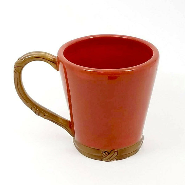 Coffee Mug Cup Pen Pencil Holder with Wicker Style Handle Ceramic 14 oz