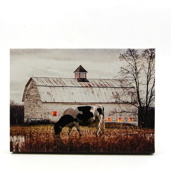 White Barn Country Farm LED Light Up Lighted Canvas Picture Wall or Tabletop Art