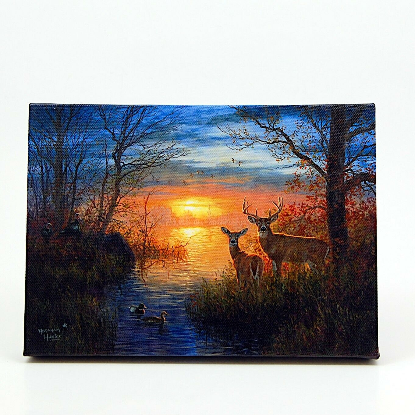 Deer by Water at Dawn LED Light Up Lighted Canvas Wall or Tabletop Picture Art
