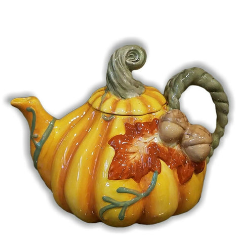 Ceramic Pumpkin Halloween Teapot orange with green floral leaves