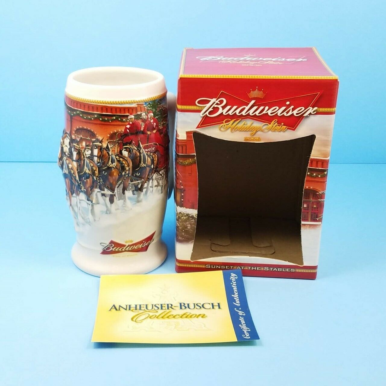 2006 Budweiser Stein Holiday Mug Sunset at The Stables with Gift Box COA CS670