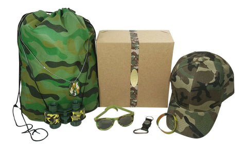 Kids Camouflage Army Camping Toy Dress Up Set and Gift Box Camo Green Ages 4 - 7