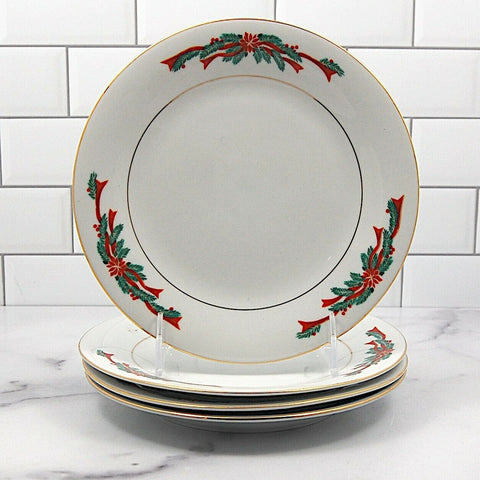 "Fairfield Fine China Poinsettia Ribbon Set of 4 Salad or Dessert Plate 7.5"" 19cm"