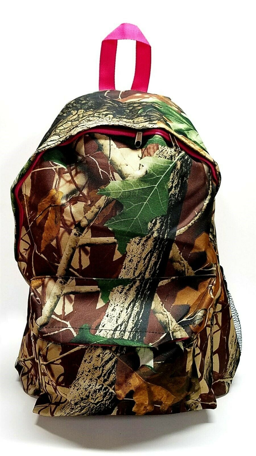 Womens Girls School Large Multipurpose Backpack Natural Camo with Pink Trim