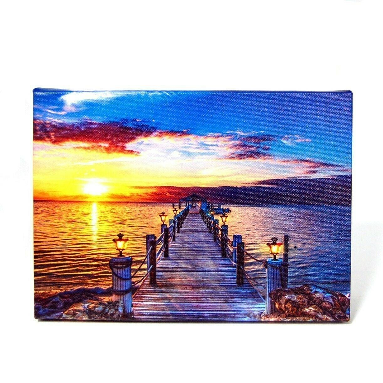 Wooden Bridge at Dawn LED Light Up Lighted Canvas Picture Wall or Tabletop Art