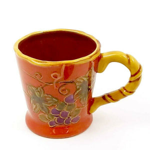 Coffee Mug Cup Floral Grape Vine Design Ceramic 16 oz