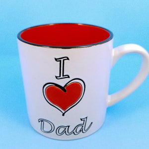 Coffee Mug I Love Dad Ceramic Beverage Cup 21oz Spectrum Pen Pencil Holder