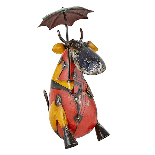 Reclaimed Iron Cow with Umbrella