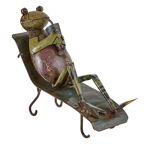 Reclaimed Iron Frog Sipping on Glass