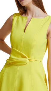 Twist Front Dress in Lemon