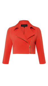 Cropped Moto Jacket in Persimmon