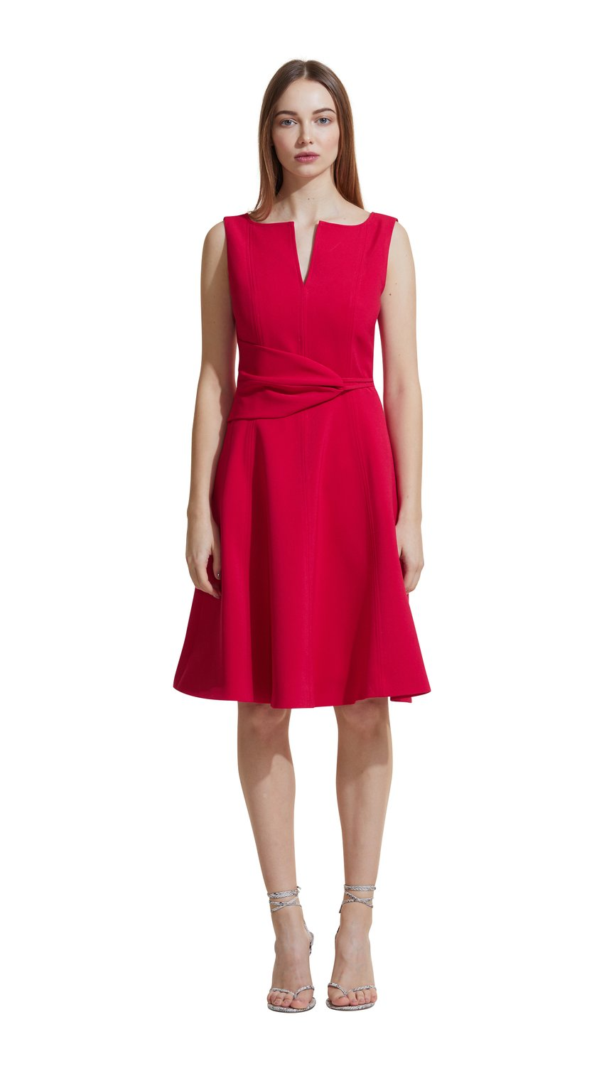 Twist Front Dress in Raspberry