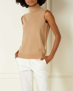Sleeveless Roll Neck Cashmere Top