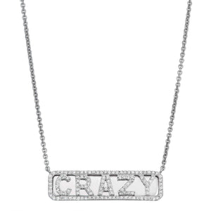 Silver 'Crazy' ID Necklace