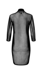 Mesh Cocoon Coat in Jet