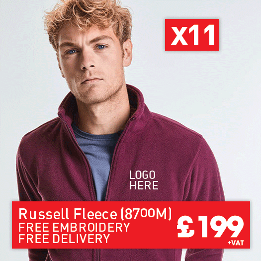 11 Russell Full Zip Microfleece Jackets for Only £199 (BC065)