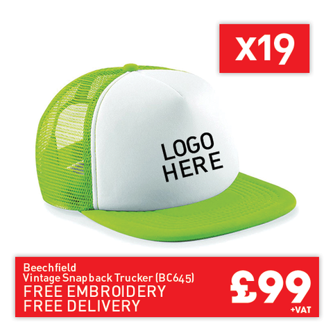 19 Beechfield Vintage snapback trucker for Only £99 (BC645)